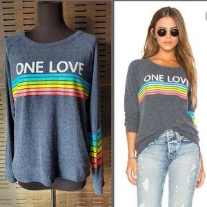 Rare Chaser One Love Rainbow Knit Sweatshirt Top